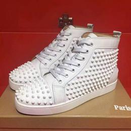 clubes de couro Desconto Frete grátis menwomen high-end personalizado de couro genuíno branco rebite sapatos casuais de alta top clube designer vermelho sapatilhas de fundo tamanho 36-46