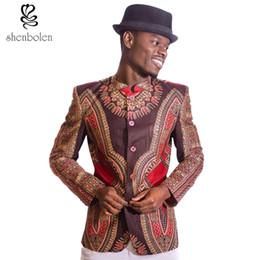 Wholesale Wax Prints Fashion - Wholesale- spring autumn summer 2017 fashion men leisure suit African clothing dashiki wax batik printing jacket pure cotton free shipping