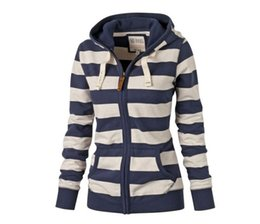Wholesale Hooded Cardigan Sweater Sale - 2017 Hot sales Autumn winter women Sweater Striped Hooded Zip Jacket Long-sleeved self-cultivation Combine color sexy Sweatshirts