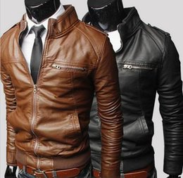 Wholesale Denim Jacket Men Leather Sleeve - Hot Sale! Winter Jackets For Men Outdoor PU Fall Winter Spring long Motorcycle Soft Shell leather sleeve denim Mens Jackets