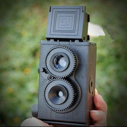 Wholesale Diy Kit Camera - Wholesale- Fashion Black DIY Twin Lens Reflex TLR 35mm Lomo Film Camera Kit Classic Play Hobby Photo Toy Gift