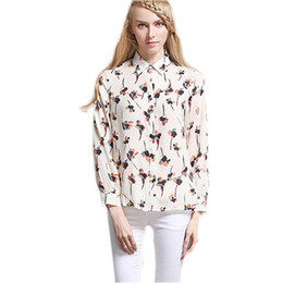 Wholesale fashion thin blouses - Chiffon Women Shirt 2017 New Fashion Women's Summer Loose Sexy Long Sleeve Thin Printed Shirt Chiffon Sunscreen Blouses