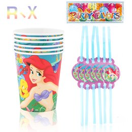Wholesale Happy Birthday Straw - Wholesale-12PCS Ariel Mermaid Theme Plastic Straw and cups Party Decoration Baby Happy Birthday evening Party Supplies Wedding for kids