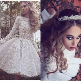 Wholesale Dark Yellow Cocktail Dress - New Arrival White Lace Long Sleeves Cocktail Party Dresses 2017 High Neck Knee Length Short Prom Gowns Arabic Custom Formal Dress BA3645