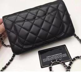 Wholesale Silver Envelopes - 2017 Lambskin Beige mini Double Flaps Bag Fashion Women Genuine Leather Shoulder bags Cross-body Chain handbags size W20*H13*D3cm