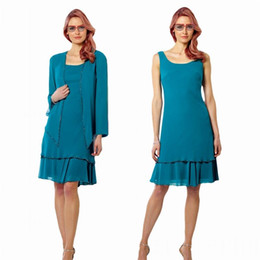 Wholesale Turquoise Chiffon Dress Long Sleeve - 2017 Elegant Turquoise Chiffon Mother of The Bride Dresses Knee-length A-line Beaded Scoop Neckline Dropped Skirt with Long Sleeve Jacket