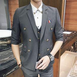 Wholesale Half Mens Suit - Safari Men Suit 7 Colors Summer Wedding Mens Suits Half Sleeve Suit with pant Men Fashion New Casual Blazer Jaqueta Masculina Suit