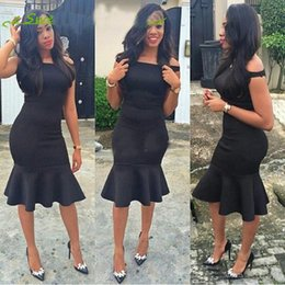 Wholesale little girls special occasion dresses - Sexy Black Mermaid Evening Dresses Boat Neck African Prom Party Gowns Knee Length Ruffles Off Shoulder Girl Special Occasion Dress