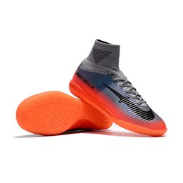 Wholesale Boys Pink Socks - Newairl soccer shoes for boys mercurial superfly IC cr7 sock boots football womens mens high tops ronaldo ankle indoor soccer cleats
