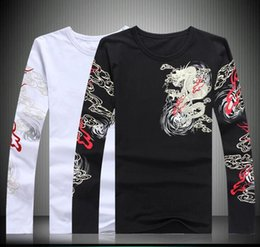 Wholesale Fish T Shirt L - Chinese wind man domineering dragon fish animal pattern kylin printing and embroidery long sleeved T-shirt shirt repair kanye west vetements