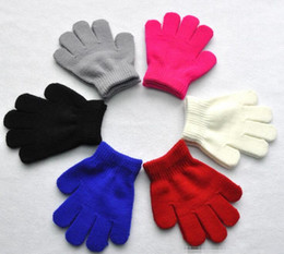Wholesale Crochet Mitten Boys - Kids Gloves Bear Baby Boys Girls Fur Mittens Outdoor Gloves Winter Christmas Child Kids Accessories Crochet Warmth Thick Mitts 6 colors