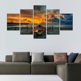 Wholesale Large Paintings For Home - Hot Sell Unframed 5 Pcs Large HD Seaview With ShipTop-rated Canvas Print Painting for Living Room Wall Art Picture Gift Decoration Home
