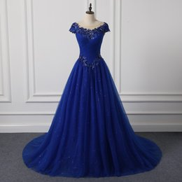 Wholesale Celebrate Dresses - 2017 Vintage Evening Dresses Ball Gown Scoop Neck Cap Sleeves Lace Appliques Navy Blue Long Sweet Celebrate Party Prom Evening Gowns