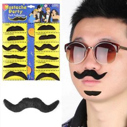 Wholesale Funny Costumes For Halloween - 12pcs set Halloween Party Costume Fake Mustache Moustache Funny Fake Beard Whisker Party Costume for Adult Kids 0708027