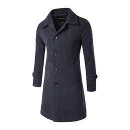 Wholesale Over Coat Jacket - Wholesale- 2016 Winter Woolen Coats Fashion Single Breasted Long Pea Coats Jacket Business Men Full Sleeve Solid Trench Over Coat with Blet