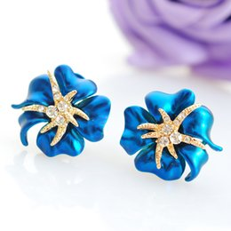 Wholesale Azalea White - Xs High-grade Atmosphere Azaleas Stud Earrings Small Starfish Diamond Earrings Ear Clip B1568