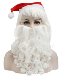 Wholesale Male Curly Wigs - Xiu Zhi Mei Top Quality Curly Christmas Santa Claus White Long Kinky Cosplay Synthetic Head Hair Wigs Cheap Old Man Male Cosplay With Beard