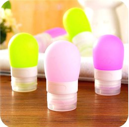 Wholesale Wholesale Mini Lotions - 60ml Silicone Round Bottles Portable Travel Squeezable Lotion Shampoo Container Women Makeup Cosmetic Mini Refillable Bottles Wholesale