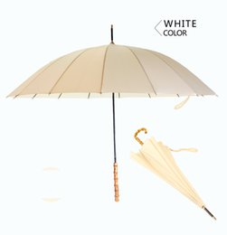 Wholesale Rainbow Straight Umbrella - 2017 have 7 color Long-handled New bamboo handle business gifts rain and rain dual-use straight umbrella rainbow advertising umbrella