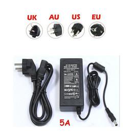 Wholesale 12v Transformer Au - Transformer Power Supply for LED Strip Light 5630 5050 3528 SMD 100-240V AC DC 12V 5A Adapter for LED RGB Strip light US UK EU AU Plug