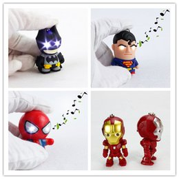 Wholesale Key Chain Iron Man - NEW LED superhero Batman Keychain pendant accessories spiderman Iron man luminous with sound action figures key chain Captain America