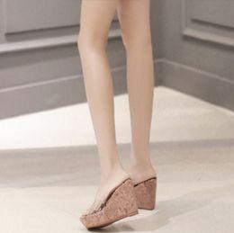 Wholesale Transparent High Heel Wedges - Summer Transparent Platform Wedges Sandals Female Slippers PVC Clear Crystal Mules Slides Women High Heel Pumps Shoes