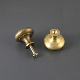 Wholesale antique brass drawer handles - 2 pieces Antique solid simple drawer knob furniture hardware wardrobe shoe door single hole handle round cone pull