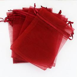 "Wholesale Drawstring Organza Pouch - Wholesale-13x18cm (5.1""x7.08"") 500pcs lot Dark Red Organza Bag Wedding Jewelry Packaging Bag Cute Organza Pouches Drawstring Gift Bags"