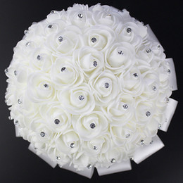 Wholesale Wedding Bouquet Styles Roses - Unique Style Elegant Wedding Bridal Bouquet Flowers with Crystal Hot Sale Rose Petals Artificial Wedding Flowers In Stock CPA818