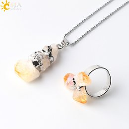 Wholesale Natural Citrine Rings - CSJA Natural Yellow Purple Quartz Crystal Jewelry Set Irregular Amethyst Citrine Stone Bead Pendant Statement Necklace and Finger Rings E393