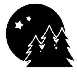 Wholesale Stars Roof - Moon with Trees and Stars Die-Cut Decal Car Window Wall Bumper Phone Laptop