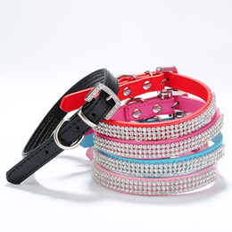 Wholesale Puppy Collars Rhinestones Wholesale - Adjustable PU Leather Bling Rhinestone Pet Puppy Dog Collar and Leash Neck Strap Shipping Free 170312