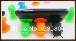 Wholesale Silicone Android Robot - Colorful Silicone Android Robot Mobile Phone Sucker Stand Holder For iPhone