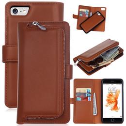 Wholesale Iphone Wallet Case Zipper - 2 in 1 Magnet Detachable Removable Zipper Leather Wallet Case Cover for iphone X 6 6s plus 7 8 7 8 plus Galaxy s6 s6 edge s7 s7 edge 1pcs