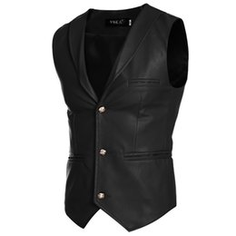 Wholesale White Pu Vest - Wholesale- 2017 Men PU Leather Casual Vest Autumn Spring Fashion Sleeveless Jacket Casual White Red Black Vest Men Slim PU Men Vest Z15