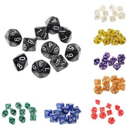 Wholesale Dices Sets - 10Pcs Colorful Resin Pearl Gemmed Dices D10 Ten Gem Dice Die Transparent (0-9) for RPG Playing Games DDG Set