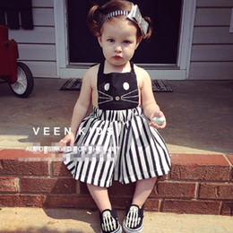 Wholesale Korean Casual Formal Dressing - Free shipping,Hot sale 2017 child clothing ,Casual,baby girl clothing,kitty,Summer autumn cat dress,Korean,girl dress qz761