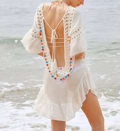 658e9c9b21 Women beach bikini cover ups lace swimwear loose blouse summer sunscreen  swimsuit tassel shirt crochet hollow sexy seaside holiday beachwear