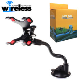 Wholesale Easy Phones - For iPhone 6 6s Double Clip Car Mount, Easy-To-Use Universal Long Arm neck 360°Rotation Windshield Phone Holder for Cell Phones -Retail Pack