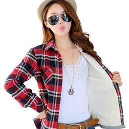 Wholesale Women Red White Plaid Shirt - Wholesale- 2016 hot winter tops female plus velvet warm plaid flannel shirt female new large size women thick long-sleeved blouses 22colors