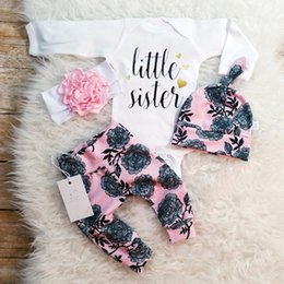 Wholesale Flower Baby Hats - european style infant baby autumn clothes sets baby girl little sister print romper with rose flower print long pants+hat 3piece outits