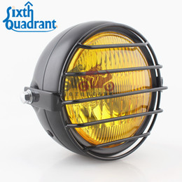 Wholesale Motorcycle Headlight Yamaha - Full Metal Retro High Low Halogen Amber Lens Headlight with Grille Cover For Chopper Bobber Cafe Racer Vintage Motorcycle Custom