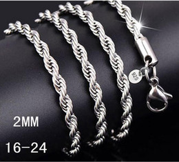 2mm silver rope chain Coupons - Silver Chain Necklace Women Man necklace 16-24 inch 2mm Rope Chain 925 jewelry findings accesory 925 G215