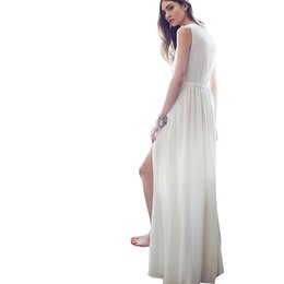 Wholesale Thigh High Maxi Dresses - New Fashion Women's Summer Sexy White Slim Plus Size Maxi Dress Thigh High Split Sleeveless Party Long Dresses
