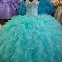 Wholesale Lace Up Turquoise Prom Dresses - Hot Sale Turquoise Cheap Ball Gown Quinceanera Dresses 2017 with Crystals Beaded Sweet 16 Pageant Prom Party Gown Vestido De Festa BM73