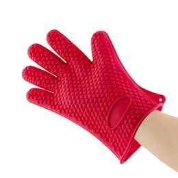 Wholesale Silicone Gloves Cooking - 1pcs Heat Resistant Silicone Glove Cooking Baking BBQ Oven Pot Holder Mitt Kitchen Red Hot Search