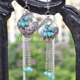 Wholesale Turquoise Beads Howlite 6mm - Antique Silver Drop Earrings Hanging With 4-6mm Natural Howlite Beads Fashion Women Jewelry Any Color Turquoise Earring For Custom Order