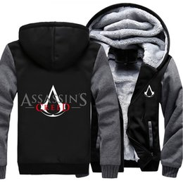 Wholesale Assassins Creed White Jacket - Wholesale- USA size Men Women Game Movie Assassins Creed Zipper Jacket Thicken Hoodie Coat Clothing Casual