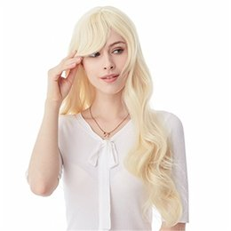 Wholesale Loose Wavy Remy Hairstyles - Cute Messy Hairstyle Short Layered Loose Wavy Blonde 100% Human Hair Lace Wig European 100% Remy Human Hair Wigs Blonde Wavy FULL LACE WIGS