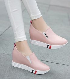 Wholesale Wedges New Arrival - New Arrival Hot Sale Specials Sweet Girl Good Quality Leather Student Fine Casual Wedge Increased Shoes EU34-40
